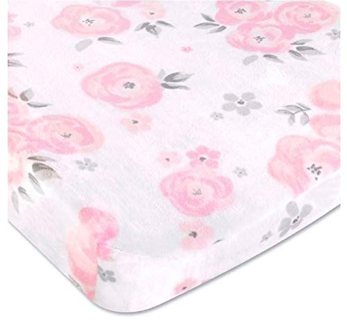 Wendy Bellissimo Velboa Contoured Diaper Pad Cover for Diaper Changer from The Savannah Collection (32x16x6) - Floral Print in White, Pink & Grey