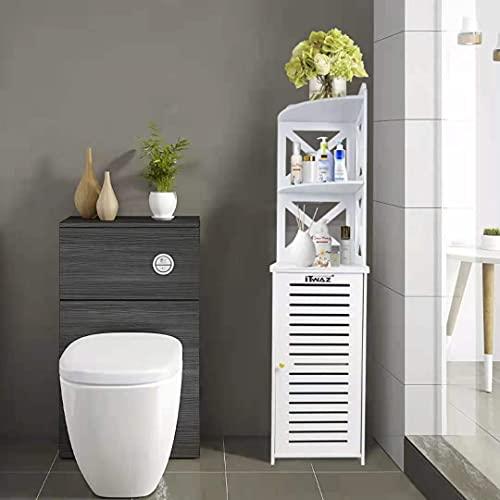 "ITWAZ Tall Bathroom Storage Corner Floor Cabinet, Standing Storage for Living Room,Corner Shower Shelf,Waterproof for Bathroom Storage,11.8"" Lx11.8Wx46.3H White A"