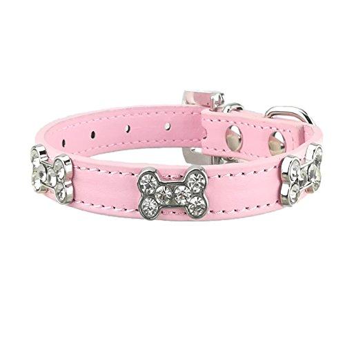 Newtensina Collar de Perro de Moda con Hueso Collares de Perro de niña Linda Bling para Perros