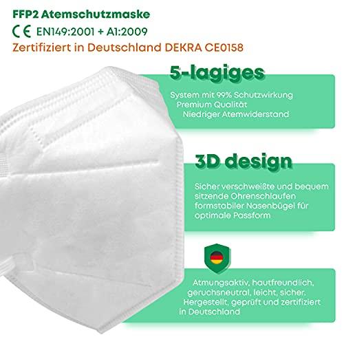 faciemF, 10 Stck. FFP2 Atemschutzmaske | Masken für Mund – und Nasenschutz | DEKRA (0158) geprüft |Made in Germany | sofort ab Lager lieferbar (10) - 4