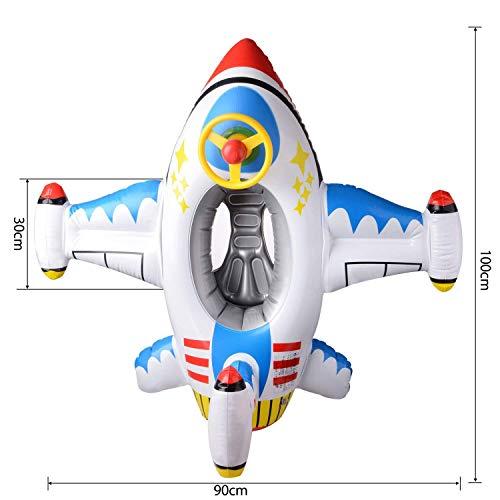 BYBOハンドル付ベビー用飛行機型浮き輪ベビー浮き輪可愛い浮き輪ボートフロート子ども用水泳1~5歳(スカイブルー)