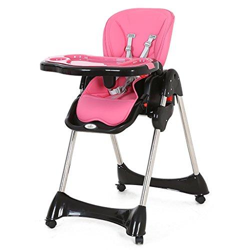 HGNbb La Silla Alta Plegable del bebé de múltiples Funciones, Portable Rosado...