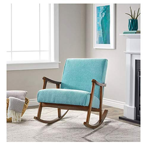 ZYLE Solid Wood Single Rocking Chair Lazy Couch Bedroom Living Room Outdoor Leisure Comfortable Nap Chair 67×89cm (Color : Light blue)