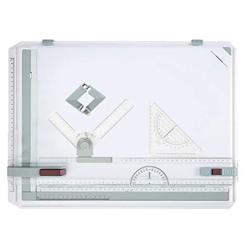 Bunao A3 Planche à Dessin, Planche à Dessin géo-Board DIN A3, Haute qualité, Rail de Dessin parallèle, Guide de rainure avec Accessoires 49x35.5 cm (Planche A3)