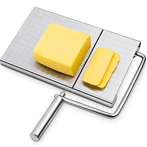 Käseschneider, Käsehobel Edelstahl, Draht-Käseschneider für Käsebutter, Cheese Slicer mit Schneiddraht und Maßstab-Platte (Brettgröße: 12 * 21 cm), Variable Schnittstärke, Schneidet Sehr Gut-Silber