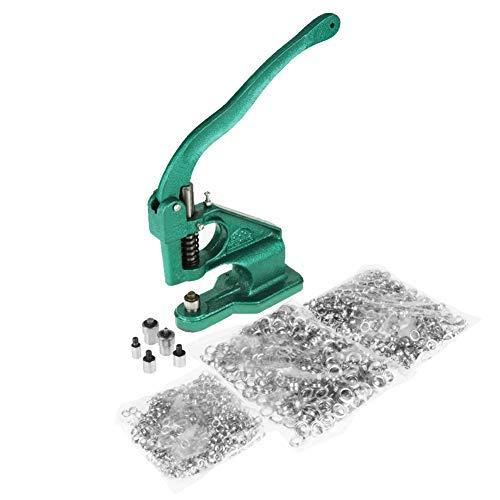 Máquina de ojales de prensa manual+Dados de 3 Tamaños+ Juegos de 1500 Ojales(6 mm/10 mm /12 mm)