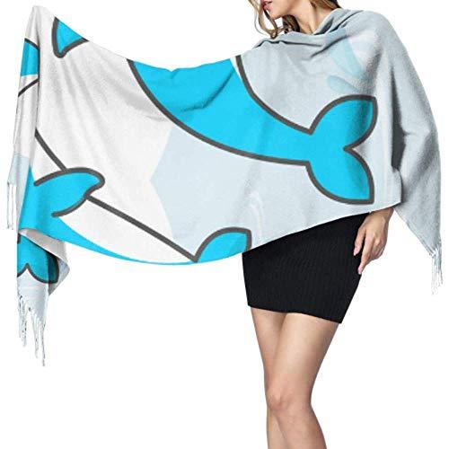 Kevin-Shop 27 'x 77' gezoomde sjaals voor vrouwen, dolfijn romantische verhaal sjaal met vinnen, stijlvolle grote warme deken