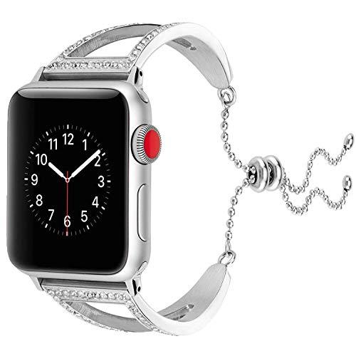 Xnhgfa Compatible para Correa Apple Watch 38mm 40mm Mujer Banda de Metal Ajustable con Diamantes de Imitación para iWatch Series 5 4 3 2 1,Plata,42MM/44MM