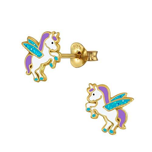 Laimons meisjes kinderoorstekers oorbellen kindersieraden eenhoorn steker Unicorn Pegasus 8 mm turquoise, paars en wit met glitter verguld sterling zilver 925