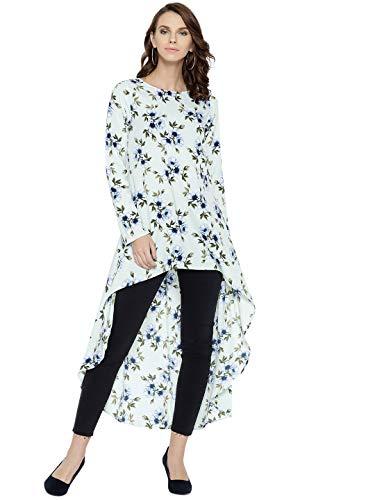 Berrylush Women's Floral Regular fit Top (TP83GR-M_Sea Green M)
