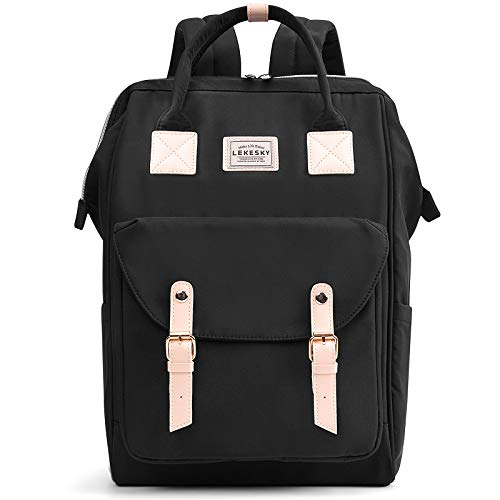 Lekesky Laptop Backpack 15.6 inch School Rucksack Black Travel Backpack Men Women with USB Charging Port Casual Bookbag Water Repellent, Black