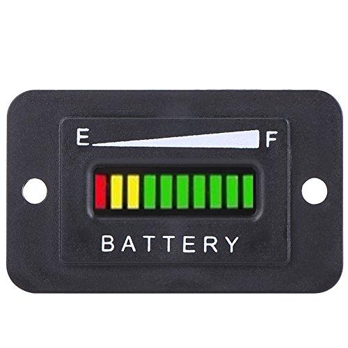 LED Indicateur de Batterie, Keenso BI003 Jauge de Mesure de Moniteur de Capacité de Batterie d'Affichage Digital 12V / 24V / 36V / 48V avec le Compteur d'Heure et Accesoires(12/24V)