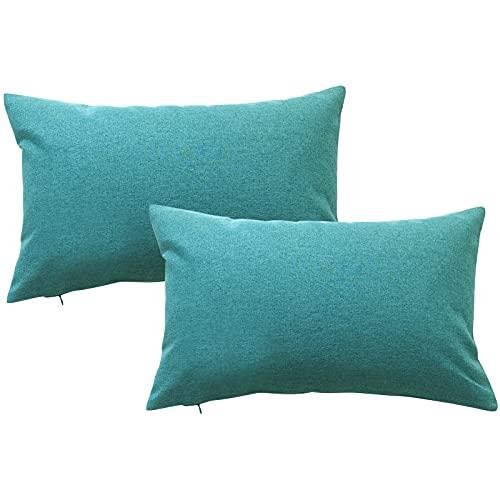 Mingfuxin Funda cojín (30 x 50 cm) juego de 2 almohada impermeable para exterior sofá, silla, jardín, salón, revestimiento de poliuretano, decorativo, azul y verde