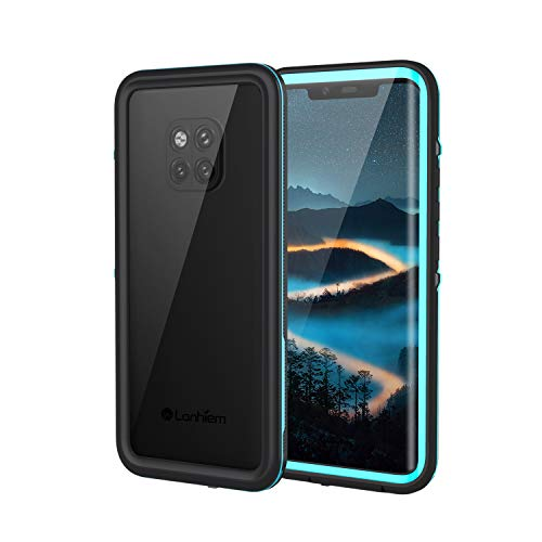 Lanhiem für Huawei Mate 20 Pro Hülle, IP68 Zertifiziert Wasserdicht Handy hülle 360 Grad Schutzhülle, Stoßfest Staubdicht & Schneefest Outdoor Schutz mit Eingebautem Bildschirmschutz - Blau
