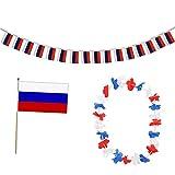 Sonia Originelli FANSET EM Fußball Russland Russia Girlande Mini Hand Flagge Hawaiikette