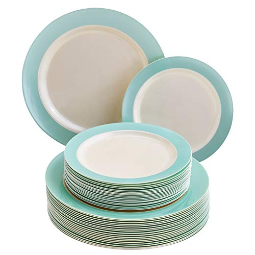Silver Spoons Turquoise Dinnerware Set VAJILLA DESECHABLE DE 40 Piezas Grandes | 20 Ensalada | Platos de plástico Resistente | Aspecto de Porcelana Elegante | Colección Pastel (Turquesa)