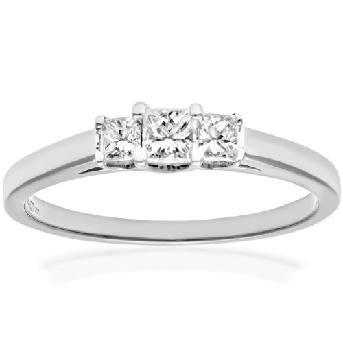 Naava Women's Platinum J/I Certified Princess Cut 0.33 ct Diamonds Trilogy Ring, Size M