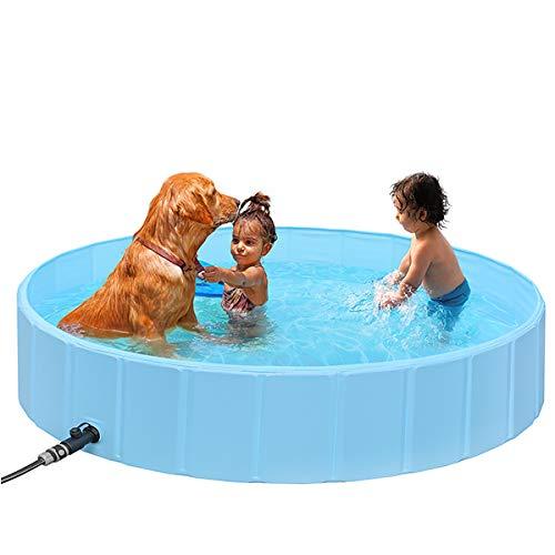 SHYOSUCCE 160cm Faltbare Große Hundepool, Hundebadewanne mit Schlauchverbinder, rutschfest PVC Planschbecken Haustierpool für Kinder und Hunde