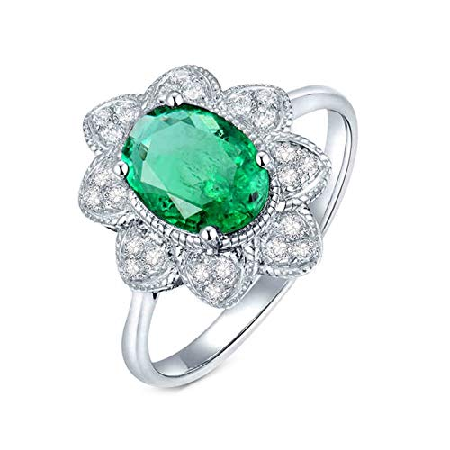 AtHomeShop Real Gold Collection, 18K White Gold Rings, Oval Flower Engagement Rings with Sparkling Oval Emerald and Diamond Wedding Proposal Ring Gift for New Year and Valentine's Day White Gold