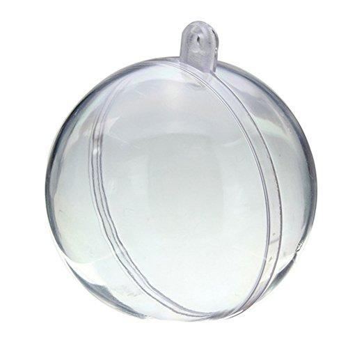 PINYOU Lot de 5 boules creuses en plastique transparent pour Noël ou mariage (12 cm)