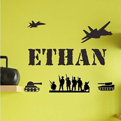 Zjxxmpersonnalisé Personnalisé Garçon Fille Enfant Nom Army Hommes Tanks Vinyle Sticker Décor - Tu Choisis Le Nom Et La Couleur 57 * 60Cm