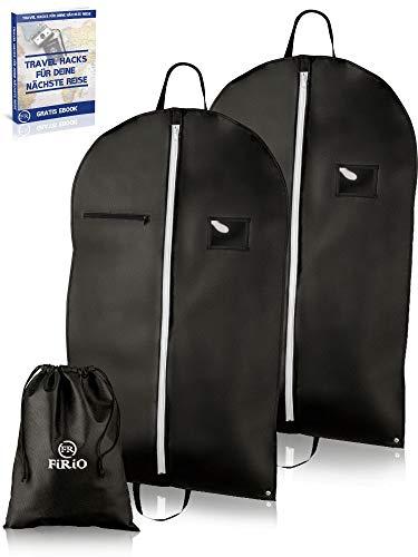 FiRiO® 2 x Premium Kleidersack Anzug Schutzhülle | Bonus SCHUHBEUTEL | Anzugtasche Kleidertasche Business | 100x60 | Hochwertige Kleiderhülle mit Reißverschluss | Reise Anzugsack mit Tragegriff