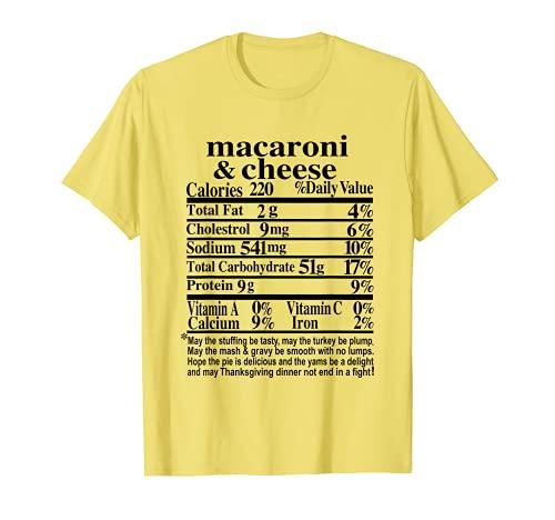 Regalo de disfraz de nutricin de macarrones y queso de Accin de Gracias Camiseta