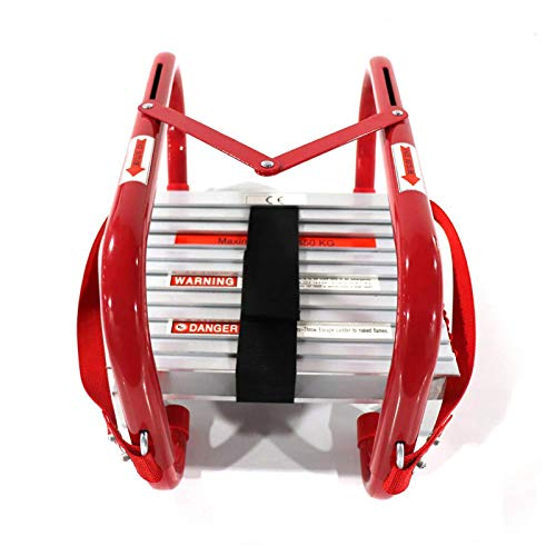 Portable Fire Ladder 2 Story Emergency Escape Ladder 15 Foot with Wide Steps V Center Support
