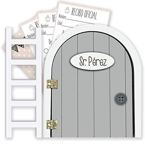 Puerta Ratoncito Pérez gris QUE SE ABRE con escalerita y recibos oficiales 100% artesanal