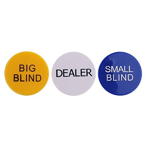 MagiDeal 3er-Set Hochwertig Doppelseitig Poker Button, Dealer/ Big Blind / Small Blind