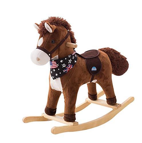 Cheval à bascule en bois pour enfants avec musique chaise berçante jouet petit cheval de Troie cadeau pour enfant monté en peluche animal pour tout-petits bascule 1-3 ans traditionnel vieux bébé doux