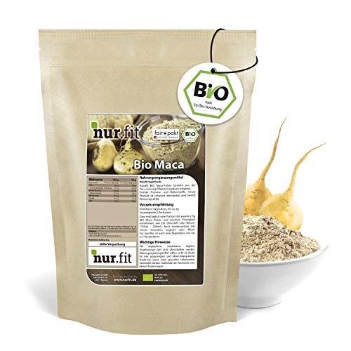 nur.fit by Nurafit BIO Maca Pulver 1kg – rein natürliches Maca-Pulver in Bioqualität – veganes Superfood mit Proteinen in Rohkostqualität – Fitness-Pulver ohne Zusätze