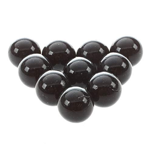 Ogquaton - 10 canicas de cristal de 16 mm, bolas de cristal de mármol, decoración de colores, juguete negro elegante y popular