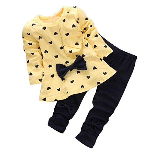 Longra Ensembles de Bébé en Forme de Coeur Imprimé Bow Cute Kids Set T-Shirt + Pantalons (3-6M, Jaune)