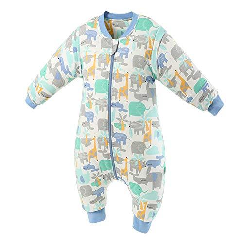 DJXLMN Saco de Dormir para bebés, Saco de Dormir de algodón Suave con Mangas largas Desmontables, Adecuado para bebés y niños pequeños de 0 a 6 años,E,M