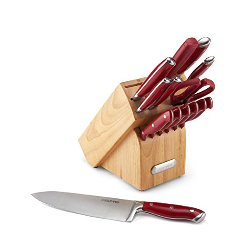 Farberware High-Carbon Stainless Steel 15-Piece Forged Triple Riveted Cutlery Set, Red