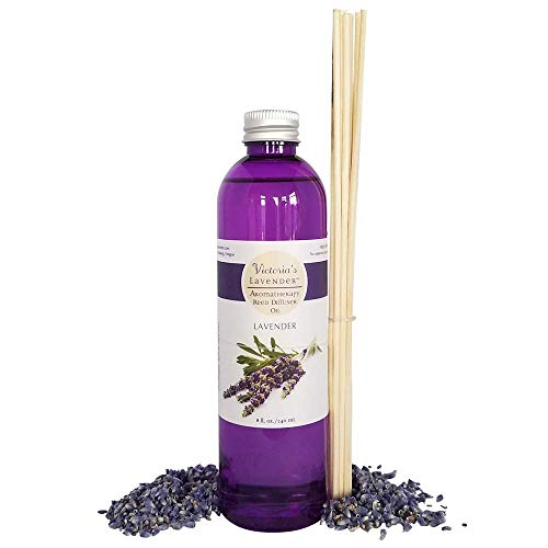 Victoria's Lavender Essential Oil Reed Diffuser Refill | Natural Organic Aromatherapy Oil for Reed Diffusers 8 oz | 1 Year Supply | Reeds Included (Lavender) | Made in USA