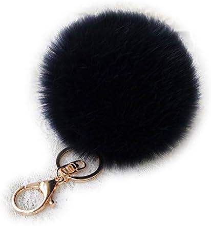Shining crown Soft Fluffy Pom Pom Ball Key Chain Car Keyring Women Charm Handbag Decoration product image