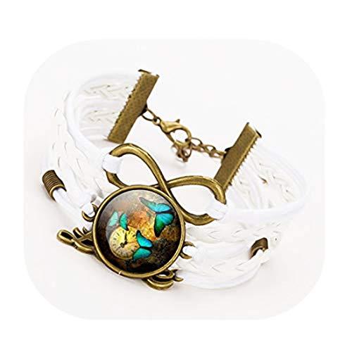 Handmade accessories kakupao Pulsera de piel para mujer, diseño de mariposa, pulsera de infinito, pulsera tejida
