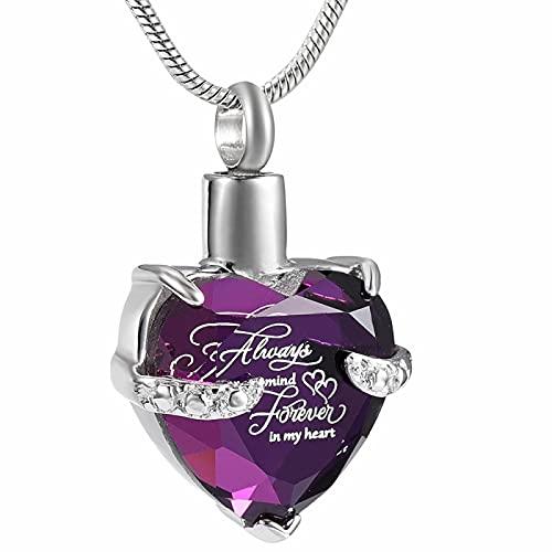 NIUBKLAS Cadena de Cenizas Joyería de cremación Siempre en mi corazón Collar de urna para Cenizas Recuerdo Colgante de Cristal conmemorativo Locket Joyas de Cenizas