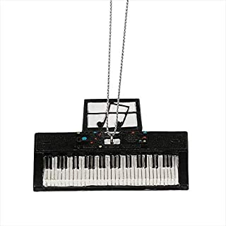 Keyboard Midnight Black 3 x 2 Resin Stone Christmas Hanging Figurine Ornament