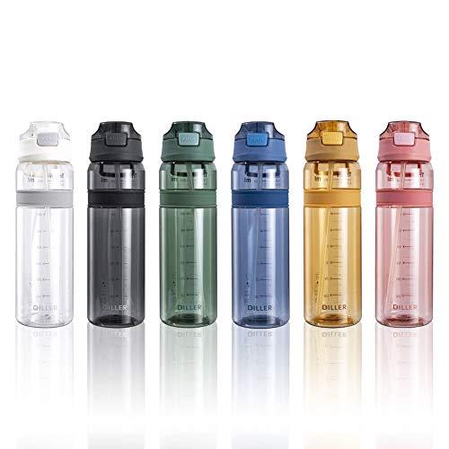 Botellas de agua con pajita, deportes, ciclismo, gimnasio, correr, tamaño pequeño, grande, 850 ml, sin BPA, botella de agua de viaje D36 (850 ml, amarillo)