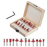 ConPush Juego de fresas HM de 12 piezas, vástago para fresadora, fresa de madera (6 mm)...