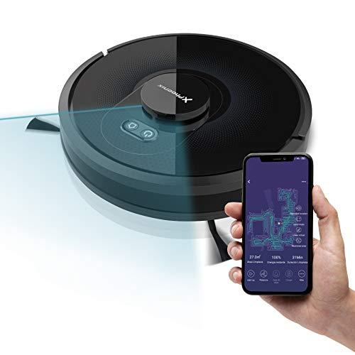 Phoenix Technologies - LaserBot360 Robot Aspirador Láser Inteligente, 2500 PA, Depósito de Agua Eléctrico, Lámpara UV, Control App