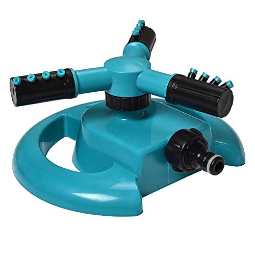 Aspersor, aspersor de jardín para césped, riego automático, aspersor de jardín, 360 grados, 3 brazos, adecuado para plantas de césped, flores, verduras (azul, 7.87 * 7.87 * 3.93 pulgadas)