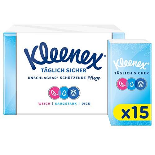 Kleenex Täglich Sicher Taschentücher, 4-lagig, Für den täglichen Gebrauch, 15 Packungen à 9 Tücher