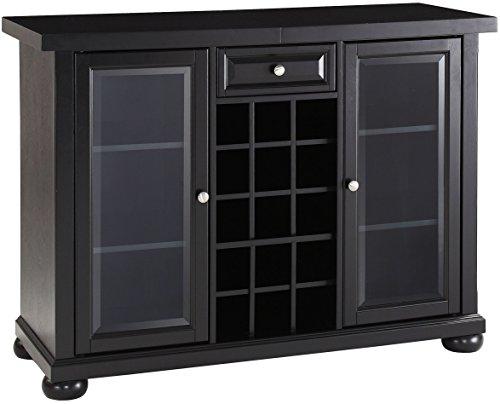 Crosley Furniture Alexandria Sliding Top Bar Cabinet, Black