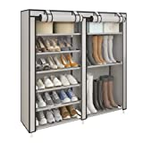 UDEAR Shoe Rack Portable Boots Storage Free Standing Shoe Organizer with non-woven Fabric Cover Grey