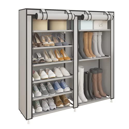 UDEAR Zapatero portátil de almacenamiento para botas de pie, organizador de zapatos con cubierta de tela no tejida, color gris