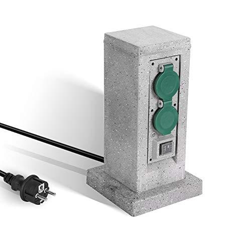 SALCAR Regleta de Alimentación para Exteriores con 4 Tomas CA, Cable de Extensión de 3M, Resistente al Agua, Interruptor de Encendido/Automático Sensor Crepuscular, Gris